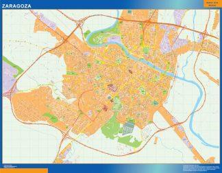 Mapa Zaragoza callejero enmarcado plastificado