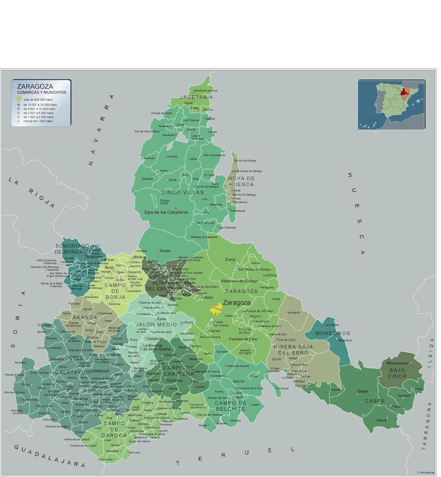 Mapa Provincia De Zaragoza.Mapa Zaragoza Por Municipios Plastificado Velleda Grande