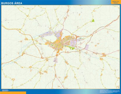 Mapa carreteras Burgos Area enmarcado plastificado