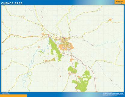 Mapa carreteras Cuenca Area enmarcado plastificado