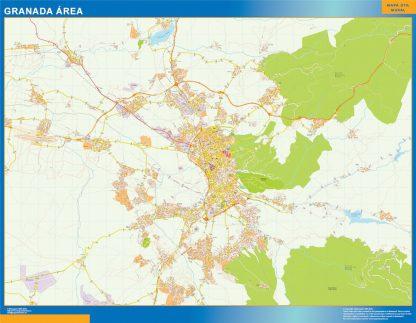 Mapa carreteras Granada Area enmarcado plastificado