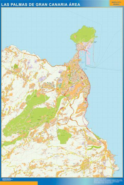 Mapa carreteras Las Palmas Gran Canaria Area enmarcado plastificado