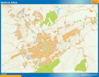 Mapa carreteras Murcia Area enmarcado plastificado