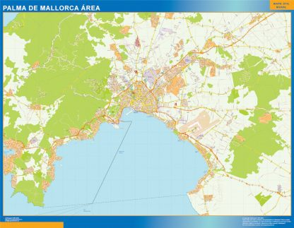 Mapa carreteras Palma Mallorca Area enmarcado plastificado