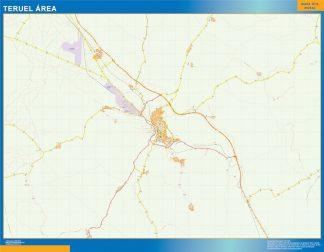 Mapa carreteras Teruel Area enmarcado plastificado