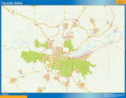Mapa carreteras Toledo Area enmarcado plastificado