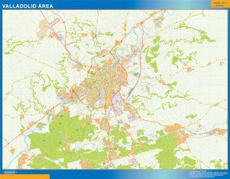 Mapa carreteras Valladolid Area enmarcado plastificado
