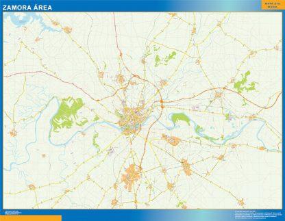Mapa carreteras Zamora Area enmarcado plastificado