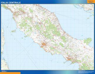 Mapa centro Italia carreteras enmarcado plastificado