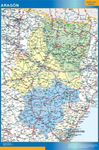 Mapa de Aragon enmarcado plastificado