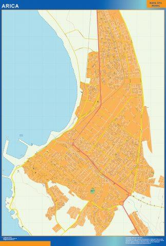 Mapa de Arica en Chile enmarcado plastificado