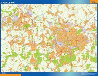 Mapa de Charleroi en Bélgica enmarcado plastificado