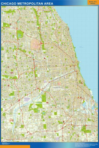 Mapa de Chicago enmarcado plastificado