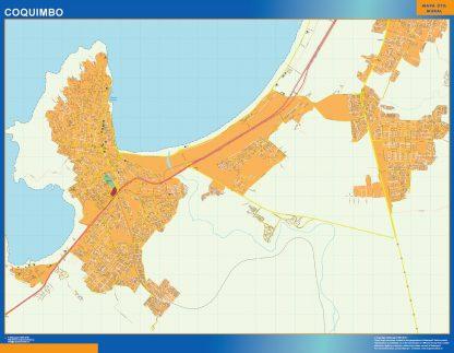 Mapa de Coquimbo en Chile enmarcado plastificado