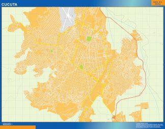Mapa de Cucuta en Colombia enmarcado plastificado