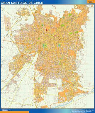Mapa de Gran Santiago de Chile en Chile enmarcado plastificado