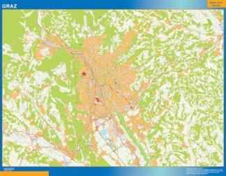 Mapa de Graz en Austria enmarcado plastificado