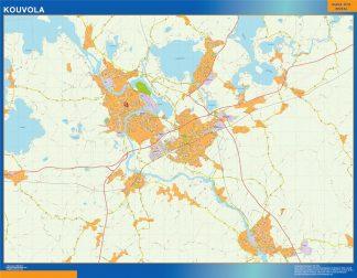 Mapa de Kouvola en Finlandia enmarcado plastificado