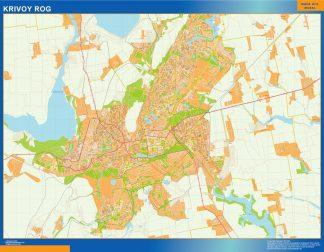 Mapa de Krivoy Rog en Ucrania enmarcado plastificado