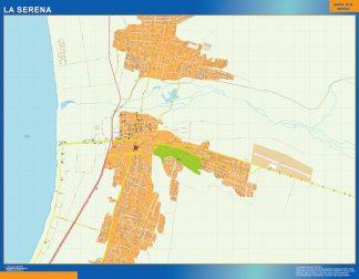 Mapa de La Serena en Chile enmarcado plastificado