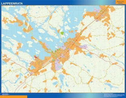 Mapa de Lappeenrata en Finlandia enmarcado plastificado