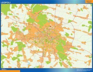 Mapa de Leopoli en Ucrania enmarcado plastificado