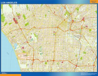 Mapa de Los Angeles enmarcado plastificado