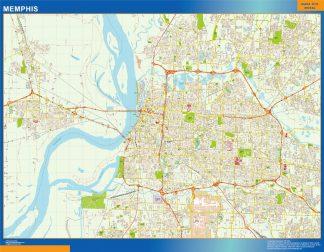 Mapa de Memphis enmarcado plastificado