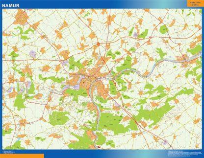 Mapa de Namur en Bélgica enmarcado plastificado