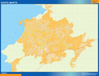 Mapa de Santa Marta en Colombia enmarcado plastificado
