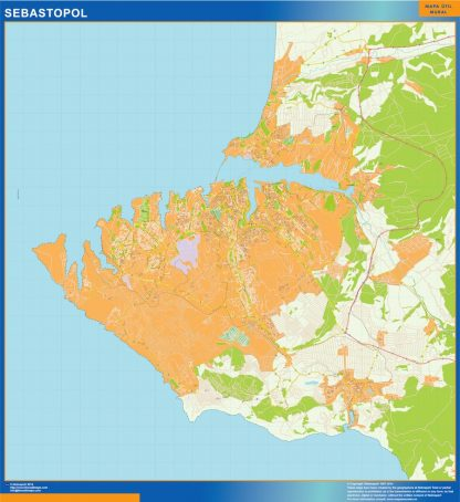 Mapa de Sebastopol en Ucrania enmarcado plastificado