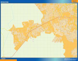 Mapa de Soacha en Colombia enmarcado plastificado