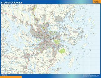 Mapa de Storstockholm en Suecia enmarcado plastificado
