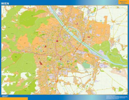 Mapa de Viena en Austria enmarcado plastificado