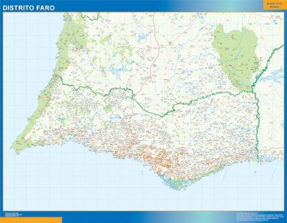 Mapa distrito Faro enmarcado plastificado
