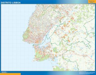 Mapa distrito Lisboa enmarcado plastificado
