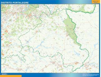 Mapa distrito Portalegre enmarcado plastificado