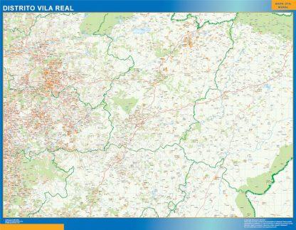 Mapa distrito Vila Real enmarcado plastificado