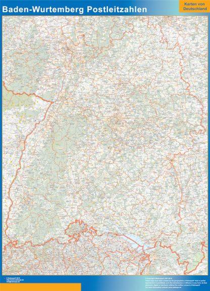 Mapa región Baden-Wurtemberg codigos postales enmarcado plastificado