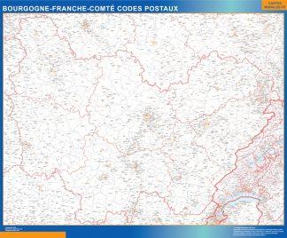 Mapa región Bourgogne Franche Comte postal enmarcado plastificado