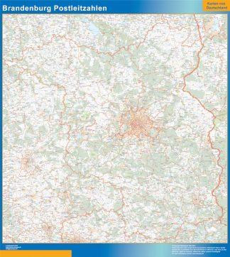 Mapa región Brandenburgo codigos postales enmarcado plastificado