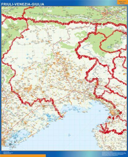 Mapa región Friuli Venezia Giulia enmarcado plastificado