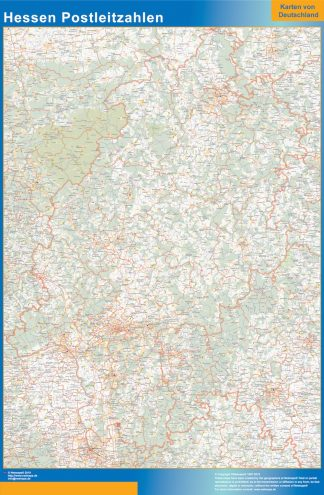 Mapa región Hessen codigos postales enmarcado plastificado