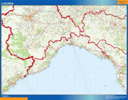 Mapa región Liguria enmarcado plastificado