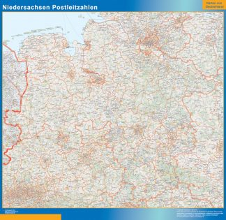 Mapa región Niedersachsen codigos postales enmarcado plastificado