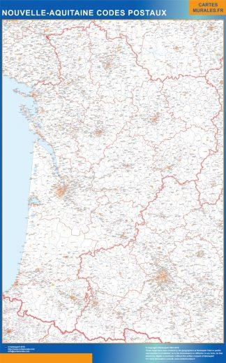 Mapa región Nouvelle Aquitaine postal enmarcado plastificado