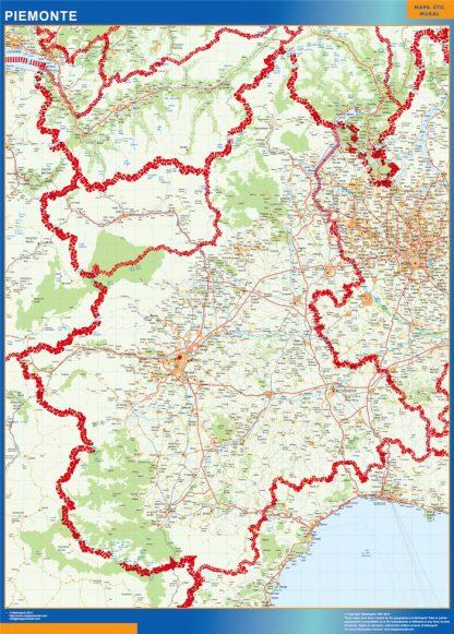 Mapa región Piemonte enmarcado plastificado
