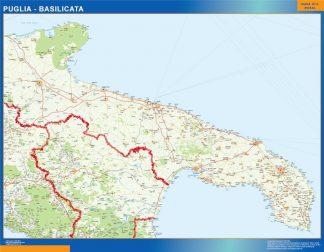 Mapa región Puglia Basilicata enmarcado plastificado