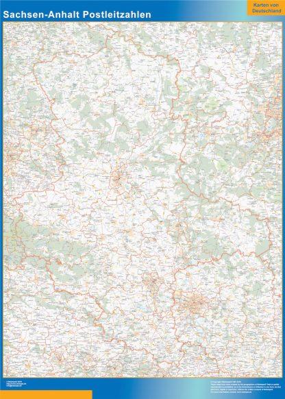Mapa región Sachsen-Anhalt codigos postales enmarcado plastificado