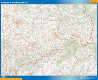 Mapa región Sachsen codigos postales enmarcado plastificado
